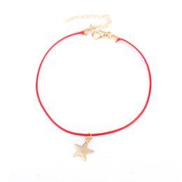 Bijoux cheville rouge en Ligne-Cheville corde rouge pendentif Anklet étoiles 2019 Summer Beach pied Bijoux Fashion Style Bracelets de cheville pour les femmes