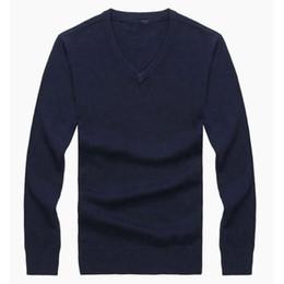 De alta calidad de Invierno Nuevo Casual con cuello en V de los hombres Polo Suéter 100% Algodón Suéter de los hombres Envío Gratis desde fabricantes