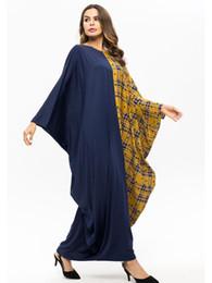 bc49b466f8 Casual Ramadan Muslim Party Dress Women Abaya Plaid Bat-wing Sleeve Robe  Islam Clothing Arab Moroccan Kaftan Caftan 7483