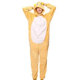 Vestito giallo chiaro online-2018 new Light bear animale confortevole immagine del fumetto delle donne del pigiama tuta invernale colletto per capelli caldo pigiama giallo autunno