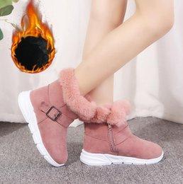 Botas de terciopelo rosa online-botas de niñas Martin botas de goma de color rosa bebé, además de terciopelo niñas cortos de los niños botas para la nieve calientes