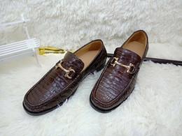 2019 zapatillas de piel de cocodrilo para hombre Zapato auténtico de cocodrilo para hombres de piel auténtica, piel de cocodrilo de color negro bronceado, hombres vestido de cuero zapatilla de deporte rebajas zapatillas de piel de cocodrilo para hombre