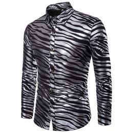 uomini camicia lucido Sconti Camicia da uomo Shiny Zebra Camicia a righe Causali Slim Fit Manica lunga Camice eleganti da uomo Nightclub Party Prom Gold Bronzing Streetwear