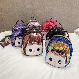 Nuovo zaino sveglio di modo online-zaino per bambini Bambini coreani 2019 nuovo simpatico gatto paillettes cuoio Pu zaini piccoli ragazzi ragazze studente borsa moda designer di lusso borsa