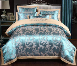 queen duvet set floral Coupons - Luxury Silk Bedding Set European Style Jacquard Floral Comfortable Duvet Cover Wedding Bedclothes Bed Linen Full Size