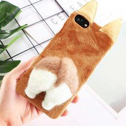 Cul chaud en Ligne-HOT gros mode hiver fait main chauffage mignonne cul animal feutre poupée flanelle cas de téléphone mobile pour iphone