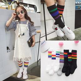 Koreanische socken marke online-Kinder Sportsocken koreanische Mädchen Baumwolle Regenbogen Streifen Luxus Designer Marke Socken Söckchen Läufer Athletic Casual Socke