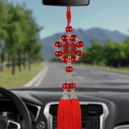 зеркала заднего вида Скидка Car Pendant Jades Double Brave Troops Tassel Hanging Ornaments Automobiles Internal Rearview Mirror Decoration Chinese Style