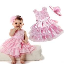 розовые платья для девочек Скидка Симпатичные розовый шелковый цветок девочки партии фантазии платья + оголовье торт Свадебное платье