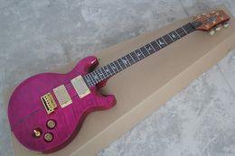 2019 guitarra eléctrica con incrustaciones de llama Envío gratis Santana Flame Maple Top Purple Abalone Inlay Custom Shop Private Stock Signature Guitarra eléctrica rebajas guitarra eléctrica con incrustaciones de llama