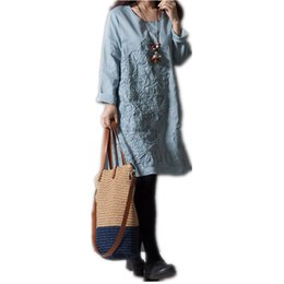 Abiti lunghi a maniche lunghe online-Abito autunno allentato Lino retro delle donne 3XL ricamato vestito dalla stampa casuale Oversize manica lunga Vestiti formato S-3XL