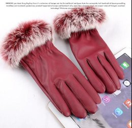 leather hair gloves Coupons - Fashion-winter real Rabbit hair pu leather gloves Thick lining Fashion Warm Gloves 5 Colors for choices