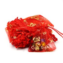 Mariposa de embalaje de regalo online-7x9cm Joyous Red Bronzing Butterfly Bolsas de organza 50 unids / lote Venta barata Fit Joyería Regalo Dulces Embalaje Regalos promocionales Bolsas