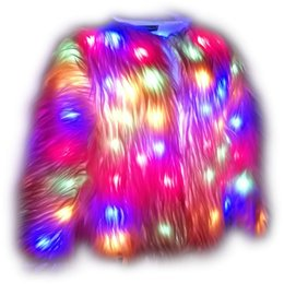Argentina Faux Fur Led Jacket Light up Winter Coat para Halloween fiesta de Navidad más el tamaño 6XL Suministro