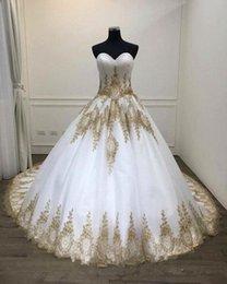 2019 vestido de novia de línea hermosa princesa hombro White And Gold Lace Wedding Dresses 2020 New Bridal Gowns Cheap Real Photos Sweetheart Applique Corset Back Tulle African Designer Cheap