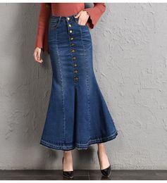 9f42a9f7ae Jean Faldas Mujer Con Bolsillo Azul Botones De Cintura Alta Hasta Faldas  Largas Sirena Faldas De Mezclilla S-XXL Ofertas de falda larga de la sirena  del ...