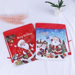 1pc partito Babbo Natale coulisse sacchetto di caramelle regalo di Natale per bambini regali di Capodanno regali borsa rosso blu colore casa natale favore cheap candy party holders da titolari di party di caramelle fornitori