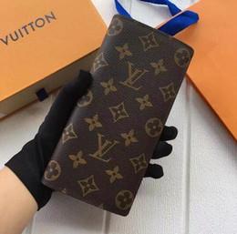 moda único zíper DesignerLouis Vuittonhomens, mulheres carteira de couro senhora senhoras longo bolsa com cartão de caixa de laranja de