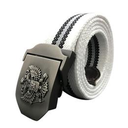 Cintura russa online-Cinture Unisex Russian National Emblem Tela cinghia tattica di alta qualità a donne degli uomini di lusso Patriot cinghia dei jeans 2017