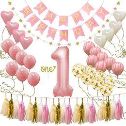 Mutlu İlk Doğum Günü Partisi Dekorasyon Seti Doğum Günü Şapka Afiş Bayrak Topper Balonlar Kiti Bebek Yıldönümü Balonlar Mutlu Doğum Günü Afiş supplier baby flag set nereden bebek bayrağı seti tedarikçiler
