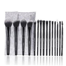 Escovas de maquiagem de fibras sintéticas on-line-15PCS Makeup Brushes Set Synthetic Fiber Cosméticos Escova Foundation Blending escovas Sombra Delineador em Pó Makeup Brush Bag