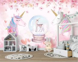carta da parati per corridoi Sconti Carta da parati personalizzata 3D Acquerello Unicorno Arte Murale Vita Camera Corridoio Camera dei bambini Sfondo foto carta da parati all'ingrosso