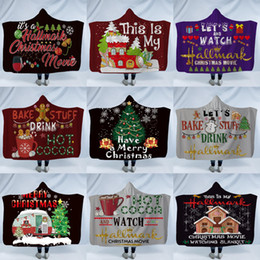 coperte di natale Sconti Natale Sherpa con cappuccio Thorw Coperta 150 * 130 centimetri 3D Stampato bambini peluche di inverno di natale Bambini del capo del mantello dello scialle divano gettare pile Wrap LJJA2960-