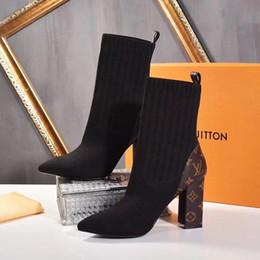Botas de nieve mujer diamante online-2020 nuevos LL botas largas de punto botas de cuero de alta calidad de las mujeres reales de la nieve Botas Casual Martin suave al por mayor de moda diamante delicado