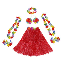 costumi hawaii hula Sconti 6 Set hawaiano Grass Skirt costume fiore Hula Lei Wristband Garland Fancy Dress