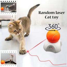2019 gato llevó la pluma Láser de juguete de gato LED pistas eléctrico de tres velocidades bola de alimentos para mascotas gato automática juguete para gatos