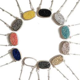 piedra druzy natural Rebajas Moda Druzy Drusy collar Kendra plata chapado en oro Faux piedra natural Scott collares para mujer joyería de la marca