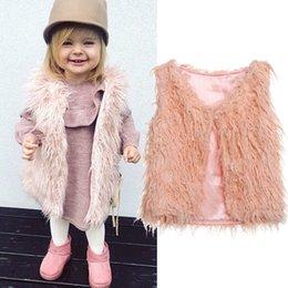 Coleira pele rosa on-line-2018 Nova criança do bebé Crianças da pele do falso Tops Vest-de-rosa quente da forma do inverno Brasão Casacos Jacket Colete Outfit 1-6Y