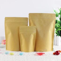 Papel de aluminio online-100 Unids Venta al por mayor Brown Foil Stand-Up Sellable con calor Bolsa con cierre hermético, Bolsa de embalaje de almacenamiento de alimentos de papel Kraft con muesca de lágrima