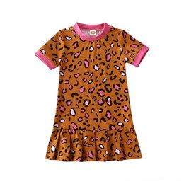 Leopardo delle ragazze del vestito dalla spiaggia online-6M4Y infantili attrezzature bambino del capretto Girl Dress Leopard Beach Water Sports Stampa manica corta increspatura della principessa Party Dresses Vestito estivo Ragazze