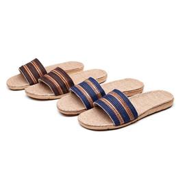 Canada Pantoufles pour hommes Linge de maison Respirant Pantoufles anti-glisse intérieures supplier men linen slippers Offre