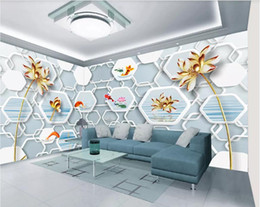 photo sticker wall Coupons - 3d room wallpaper custom photo mural 3D golden lotus background wall painting baby wallpapers wall sticker art canvas pictures