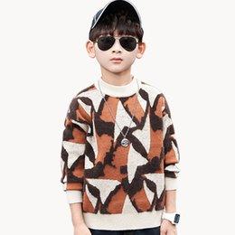 2020 pulôveres rapazes Meninos camisola camuflagem Velvet camisolas para meninos moda Patchwork Crianças capuz Queda formal de roupas de Inverno 6 8 10 12 14 pulôveres rapazes barato