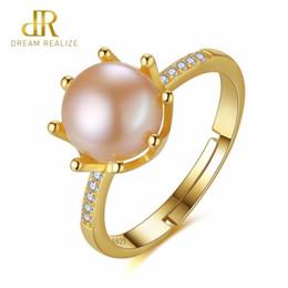 a4e4a1ece2cc DR corona forma ocho patas perlas naturales 8-8.5 mm 925 anillos de plata  esterlina para mujeres regalo joyería de la boda precio al por mayor