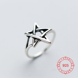 china star rings Promo Codes - MARCASITE Silver 925 Vintage Fashion Dainty 925 Sterling Silver Adjustable Star Ring Unique Punk Jewelry for Women