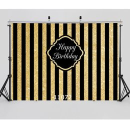 Golden Black Stripes Birthday Party Backgrounds Photography Backdrops for Photo Studio Children Boys Newborn Baby Photophone supplier black children photos от Поставщики черные детские фото