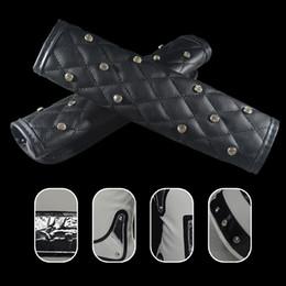 Coperchio freno a mano nero online-Auto Coprileve auto freno a mano Grips Cover Set in pelle con cristallo nero e strass Accessori Interni