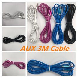 oro nakamichi Rebajas Nuevo 3m 10FT Cable Aux Cable trenzado AUX Cable de Audio Macho a Macho Estéreo Extensión de Coche Cable Auxiliar de Audio Para MP3 iphone6S Samsung S7 iphone