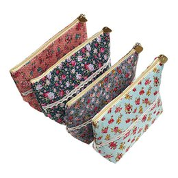 Bolsas de lápis floral on-line-Assorted Grande Capacidade Flor Floral Caneta Titular Papelaria Lápis Bolsa Viajar Multi-funcional Sacos Cosméticos