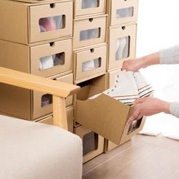 caixa de inicialização clara Desconto Recomendar 5 PCS Kraft Papel Dormitório Transparente Caixa De Sapatos De Plástico Transparente Simples Gaveta Botas De Armazenamento De Caixa