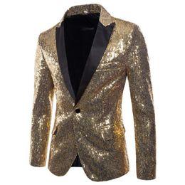 Revestimento do terno do sequin dos homens on-line-Europa quente e Estados Unidos Desempenho vestidos de ouro lantejoulas Ternos Ternos dos homens Discotecas Desgaste dos homens Hospedado por Siyi Studios Coats
