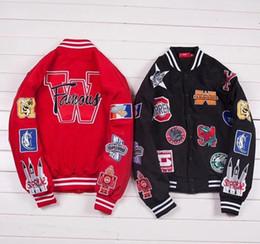 baseballjacke s logo Rabatt 18FW Box Logo Luxus Baseball-Jacke Winddicht Art und Weise beiläufiger Stickerei-Baumwollmantel Herbst-Winter-warme Straße Oberbekleidung HFYMJK127