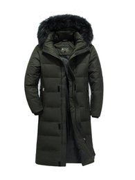 2019 самое теплое длинное пальто 2018 Winter New Men's Long Down Jacket Clothes Thicken Warm White Duck Down Hooded Fur Collar Casual Coat Male  Clothing скидка самое теплое длинное пальто