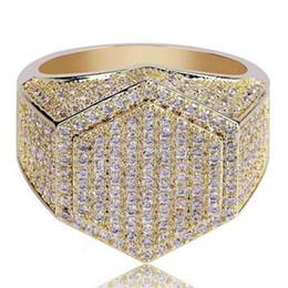 joyas de oro Rebajas Nuevos anillos para hombre de Hip Hop Iced out 3A Rhinestones anillos de cobre de lujo Jewlry Gold Silver Fashion Jewelry Wholesale Hot
