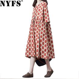 16819ba483b9 2019 abiti di lino lunghi da donna NYFS 2019 New Summer dress Allentato  Ladies Vintage Dot