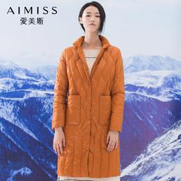 AIMISS nuovissimo piumino modo di colore arancione basamento del collo grandi tasche del cappotto lungo giù Outwear i vestiti di tendenza